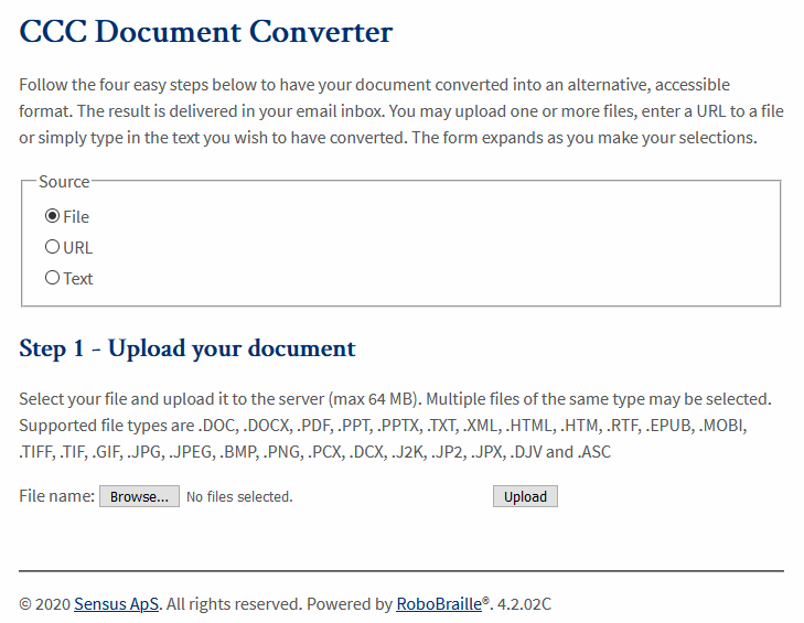 CCC Converter starting page